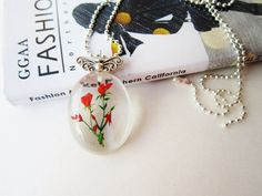 Clear Teardrop charm pendant necklace amazin piece of art by IFgal, $20.00