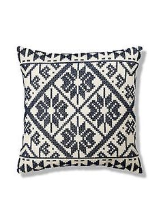 Blue Mix Cross Stitch Embroidered Cushion