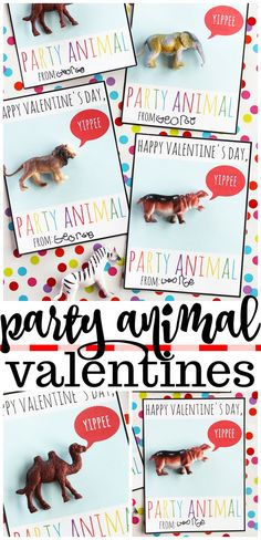 Party Animal Printable Valentines - Fun candy-free handmade valentine cards for kids! Party Animal Printable Valentines - Fun candy-free handmade valentine cards for kids! Valentines Day Cards Handmade, Printable Valentines Day Cards, Kinder Valentines, Valentines Diy, Happy Valentines Day, Valentine Nails, Party Animals, Animal Party, Valentinstag Party