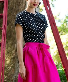 Look what I found on #zulily! Black & White Polka Dot Couture D'Or Top by Shabby Apple #zulilyfinds