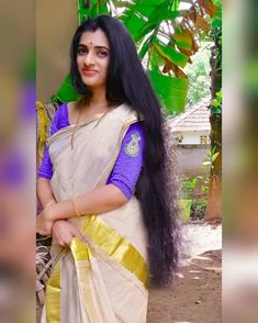 Beautiful Blonde Girl, Beautiful Girl Image, Beautiful Long Hair, Beautiful Saree, Indian Hair Cuts, Long Indian Hair, Desi Girl Image, Girls Image, Onam Saree