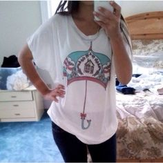 Pastel Umbrella Loose Oversized T Shirt Cute and comfy oversized Tee! One size fit, fits sizes Xs-m Tops Tees - Short Sleeve