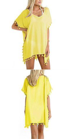 96d6a34210 2018 beach swimsuit swimwear solid chiffon loose bikini cover-up beach  dress women summer stitching