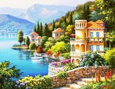 If you are a landscape and natural painting lover then this is the best combination for you. Grab this amazing painting Lakeside Town Beautiful Landscape DIY Paint By Number and take your home decor to the next level Oil Painting On Canvas, Diy Painting, House Painting, Canvas Art, Diy Canvas, Canvas Frame, Learn Painting, Wall Canvas, Beautiful Paintings