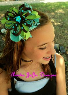 Aqua Blue Lime Green and Chocolate Brown by AuntieJuJuDesigns, $7.95