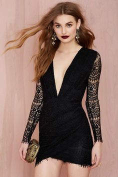 Reverse Havana Lace Dress - Black at Nasty Gal £52