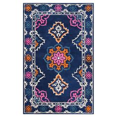 A stylish foundation for your dining room or den, this hand-looped wool rug showcases a multicolor floral motif.   Product: Rug