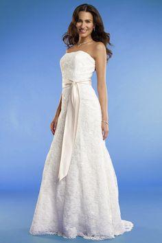 A-line Strapless Satin Sash All Over Lace Wedding Dress-wa0119, $249.95