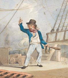John Sell Cotman, 1782-1842, British, Caricature of a Sailor (One of a Set of Three), ca. 1799, Watercolor and gouache on medium smooth bright white wove paper. Yale Center for British Art, Paul Mellon Collection.