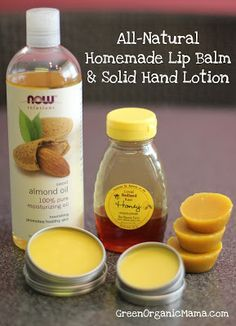 All-natural homemade lip balm and solid hand lotion. Super easy to put together in the microwave, with no mess!