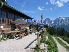 The Vorderkaiserfelden Hut is an alpine hut in the Kufstein district, Austria. It is located at 1,384 metres on the southwest slope of the Zahmer Kaiser below the Naunspitze and high above the Kaisertal valley in the Kaisergebirge mountain range.