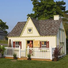 Little Cottage 8 x 12 Victorian Wood Playhouse - 8X12VICTINFLOORKT/LOFT/DECK/RAIL/CHIMNEY