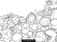 plants vs zombies hard coloring pages for kids