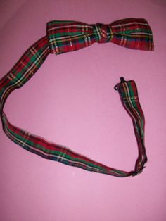 Vintage Red Plaid Bow Tie MM177 by HeartsMaddness on Etsy, $15.00