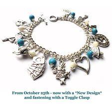 Alice in Wonderland Charms & Beads, Strong Bracelet, Teapot/Rabbit/Clock/Key/Cat