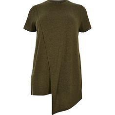163df8fcd2b4e RI Plus khaki asymmetric wrap T-shirt Plus Size Short Sleeve Tops