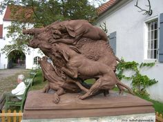 Statue in Weimar depicting origination of breed.