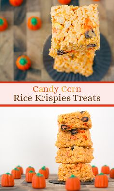 Candy Corn Rice Krispies Treats – your favorite marshmallow gooey, crispy, Rice Krispies Treats turned Halloween with the sweet addition of candy corn and candy corn marshmallows. I bet you bite a candy corn! Delicious Desserts, Dessert Recipes, Yummy Food, Baking Recipes, Cereal Recipes, Fudge Recipes, Party Recipes, Healthy Desserts, Snack Recipes