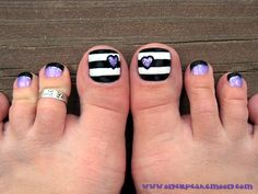 my birthday pedi...  lavender & black french with silver glitter in between, and black & white burtonesque striped big toes with lavender glitter hearts