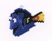 Hand Beaded Dory Cartoon Blue Fish earrings