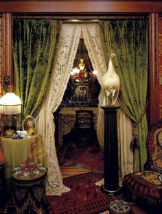 Victorian Velvet Curtains - Window treatments are a superb way to improve the décor of your home, however there are numer Victorian Interiors, Victorian Decor, Victorian Homes, Victorian Parlor, Victorian Curtains, Vintage Curtains, Victorian Windows, Modern Victorian, Doorway Curtain