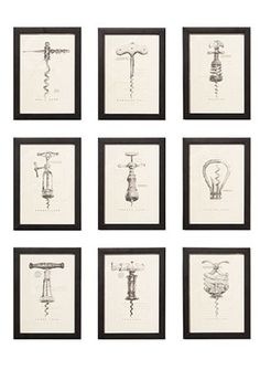 Vintage corkscrew prints by Barbara Cosgrove