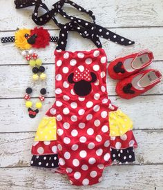 Minnie Mouse Romper/Traditional Minnie/Bubble Romper/First Birthday/Red Yellow Black minnie mouse outfit/Minnie Necklace/Minnie Headband on Etsy, $39.99
