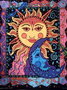 Diamond Painting Sun and Moon Pattern Abstract Flower Paint with Diamonds Art Crystal Craft Decor Sun Moon Stars, Sun And Stars, Art Soleil, Art Hippie, Sun Art, Pics Art, Abstract Flowers, Psychedelic Art, Doodle Art