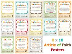 articles of faith printables