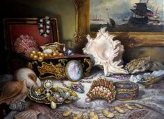 """""""Ocean's Bounty"""" is a new painting and giclee from Brenda Burke . . """"This painting celebrates the love and fascination we all have for the precious objects the ocean brings to us and the inventive way that artists through the ages have embellished this heritage of shells and pearls . ."""""""