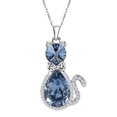 EleQueen Women& Silver-tone with Swarovski Elements Crystal Cute Cat Pendant Necklace Sapphire Color - Jewelry For Her Cat Jewelry, Bridal Jewelry, Jewelry Sets, Gold Jewelry, Jewelry Accessories, Women Jewelry, Fashion Jewelry, Fashion Earrings, Sapphire Jewelry