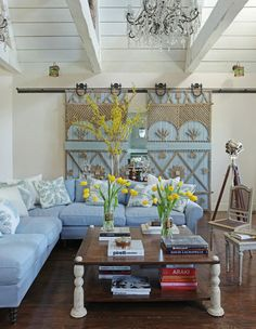 Decorative wood accents on sliding barn door, interior by Martyn Lawrence-Bullard Living Room Decor, Living Spaces, Living Rooms, Interior And Exterior, Interior Design, Home And Deco, My Dream Home, Interior Inspiration, Color Inspiration