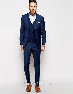 Suit Custom Made Groom Tuxedos Blue Business Suits Classic Sequin White Blazer Men Fashion Mens Tux Bridegroom Jacket Pant Tie MS002