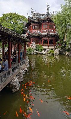 pagoda + koi pond, yuyuan garden, shanghai, china   travel destinations + photography #wanderlust Shanghai, Pond