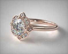 Halo Engagement Ring in Rose Gold - Setting Only