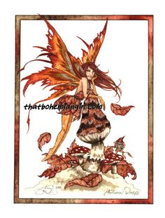 Autumn Wings Fairy Print by Amy Brown. Measures 8-1/2 x 11 inches... Out of Print... very few remaining in stock.