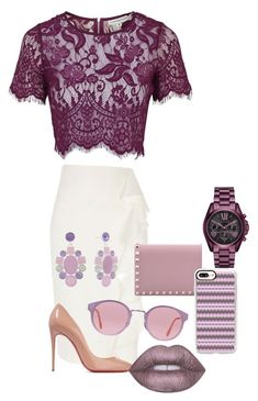 """""""Lavender life"""" by abbi-lagan on Polyvore featuring River Island, Christian Louboutin, RetroSuperFuture, Valentino, Casetify, Monet, Michael Kors and Lime Crime"""