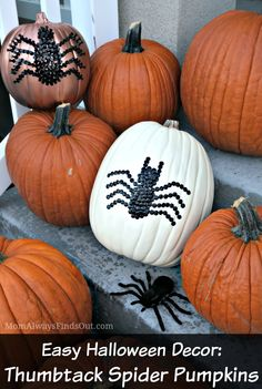 Easy Halloween Decor with Craft Pumpkins. Thumbtack Spider Pumpkins at Mom Always Finds Out