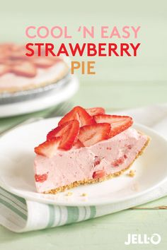 What's cooler than cool? Cool 'N Easy Strawberry Pie. For this quick and easy dessert recipe, prepare JELL-O Strawberry Flavor Gelatin as directed, then whisk in COOL WHIP LITE Whipped Topping. Stir i (Strawberry Cool Whip) Brownie Desserts, Oreo Dessert, Mini Desserts, Cool Whip Desserts, Coconut Dessert, No Bake Desserts, Easy Desserts, Delicious Desserts, Yummy Food