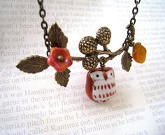 Lovely Rust Owl and Berry Branch Necklace by lunashineshine