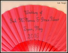 WEDDING DETAIL or INVITE Hand Painted Red Polka Dot White Hand Fan Wood and Fabric by Kate Dengra Spain Eventail Abanico Facher by DengraDesigns on Etsy