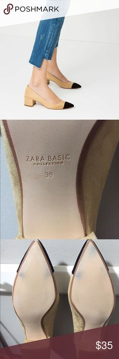 Zara cap toe mid heel pumps Mid heel cap toe pumps from Zara. They're a nice basic shoe in good condition. I wore them once around my office but they're too big. Never worn outside! Zara Shoes Heels