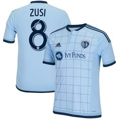 51a123d0c1b Men s Sporting Kansas City Graham Zusi adidas Light Blue 2015 MLS Replica  Primary Jersey