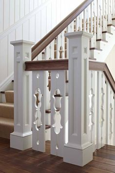 , Beach Style Victorian Staircase With Classic Style And White And Brown Wooden Railings Color Also Brown Floorboards: Victorian Windows Style And Victorian Rooms House Design, Lakeside Cottage, House, Cottage Style, Railing Design, Staircase Design, Cottage Stairs, Handrail Design, Craftsman Style Homes