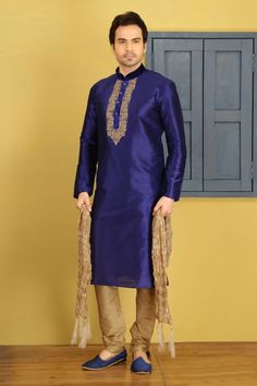 Blue Dupion Art silk Kurta Pyjama sku:518064 Dupion Silk, Blue Art, Design Show, Pyjamas, Pajama Set, High Neck Dress, Shirt Dress, Stylish, Shirts