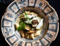 Hand made gnocchi on roasted aubergine & pear puree with black truffle cream at Hemelhuijs Restaurant, Cape Town