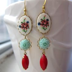 Cross Stitched II vintage style earrings by kellyssima on Etsy, $22.00
