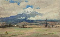 ROBERT JENKINS ONDERDONK (American, 1853-1917) Valley View of Popocatépetl (double-sided work) Oil on board