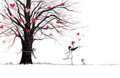 Love Tree, by Charllotte Ashlie. Art print available, www.mydollgift.com #art #illustration #drawing #dog #tree