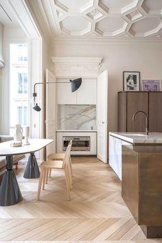 Paris Kitchen With Pale Wood And Marble // #herringbone #flooring #chevron